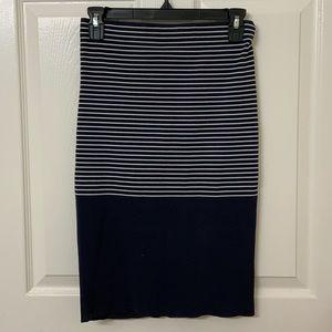 WITCHERY - Striped Navy Blue Midi Skirt - Stretchy
